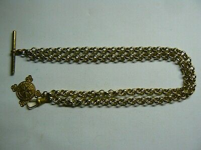 Stunning Belcher Gold Plated Double Albert Pocket Watch Chain & Gold Plated Fob