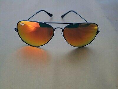Ray Ban RB3026 62MM Aviator Unisex Sunglasses Black Frame/Orange Mirror Lens