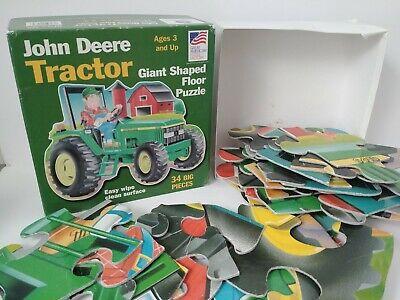 John Deere Tractor Giant Shaped Floor Puzzle 34 Big Pieces Easy Wipe Clean GUC