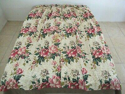 "Vintage MCM Mid Century 2 Panels Floral BARKCLOTH Curtains, 81"" Long + 8"" Hem"