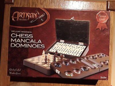 Chess, Mancala, Dominoes set Excalibur Artisan Games Premium Grade Deluxe Wooden Deluxe Wooden Chess Set