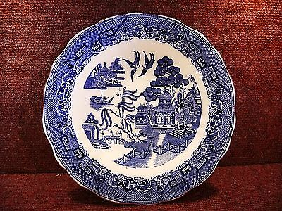 "Antique CAULDON LTD 9"" Blue & White WILLOW Dished PLATE c1905-20"