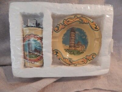 Vintage Leaning Tower of Pisa Souvenir Lighter and Ashtray Ceramic Fiore