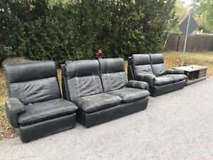 Curb Alert!! Free black leather couches