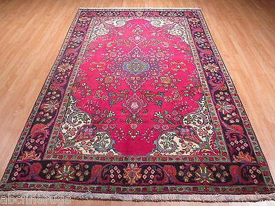 7x10 Circa 1960 Persian Tabriz Vegetable Dye Handmade Knotted Wool Rug 582123