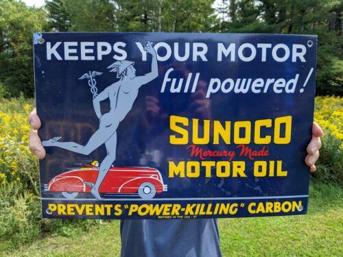 OLD VINTAGE 1937 SUNOCO MERCURY MADE MOTOR OIL PORCELAIN  GAS STATION PUMP SIGN