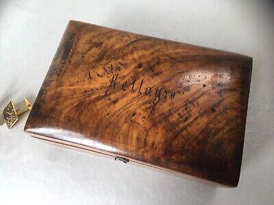 c1910 Antique Olive Wood Box. Jerusalem Palestine. Cufflink Wooden Trinket