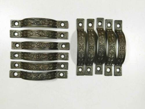 11 Matching Antique Victorian Small Finger Pulls Circa 1890 in Ornate Cast Iron