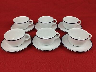 Crate & Barrel Spal Roulette Blue Band SIX (6) Cups & Saucers Porcelain Portugal