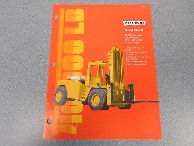 Rare Pettibone Pt-40b Forklift Sales Sheet