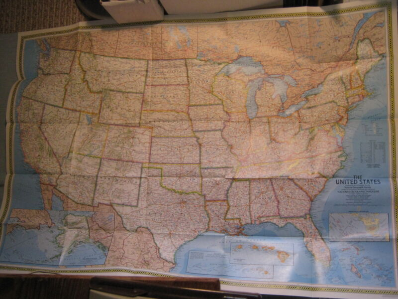 TERRITORIAL GROWTH OF THE UNITED STATES MAP National Geographic 1987 HUGE! Mint