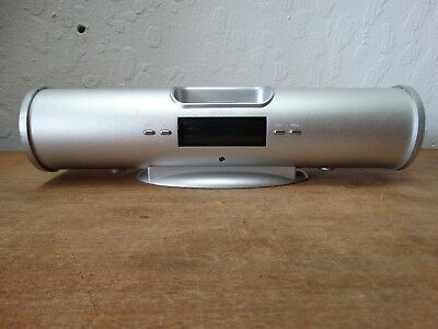 MP3 Speaker Docking Station W/ Alarm -Silver Cylindrical Metal iMusic5