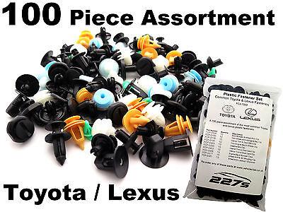 100 Piece Plastic Trim Clip Assortment- Common Fastener Set for Toyota / Lexus