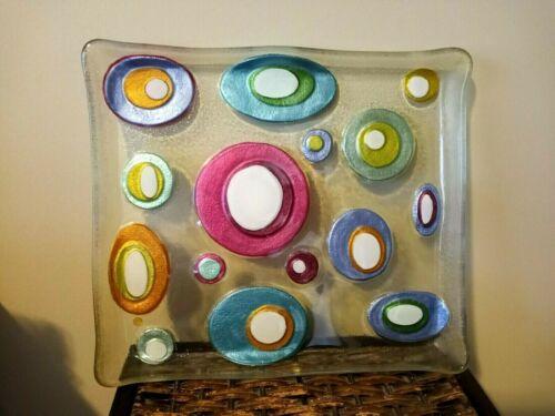 Whimsical Lori Siebert for Silvestri, Hand-Blown / Fused Glass Plate, Beautiful