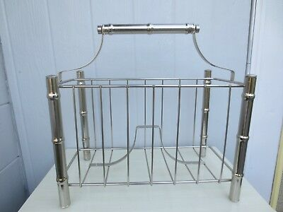 Faux Bamboo Magazine Rack Newspaper Caddy Silver Living room Palm Beach MCM - Living Room Modern Magazine Rack