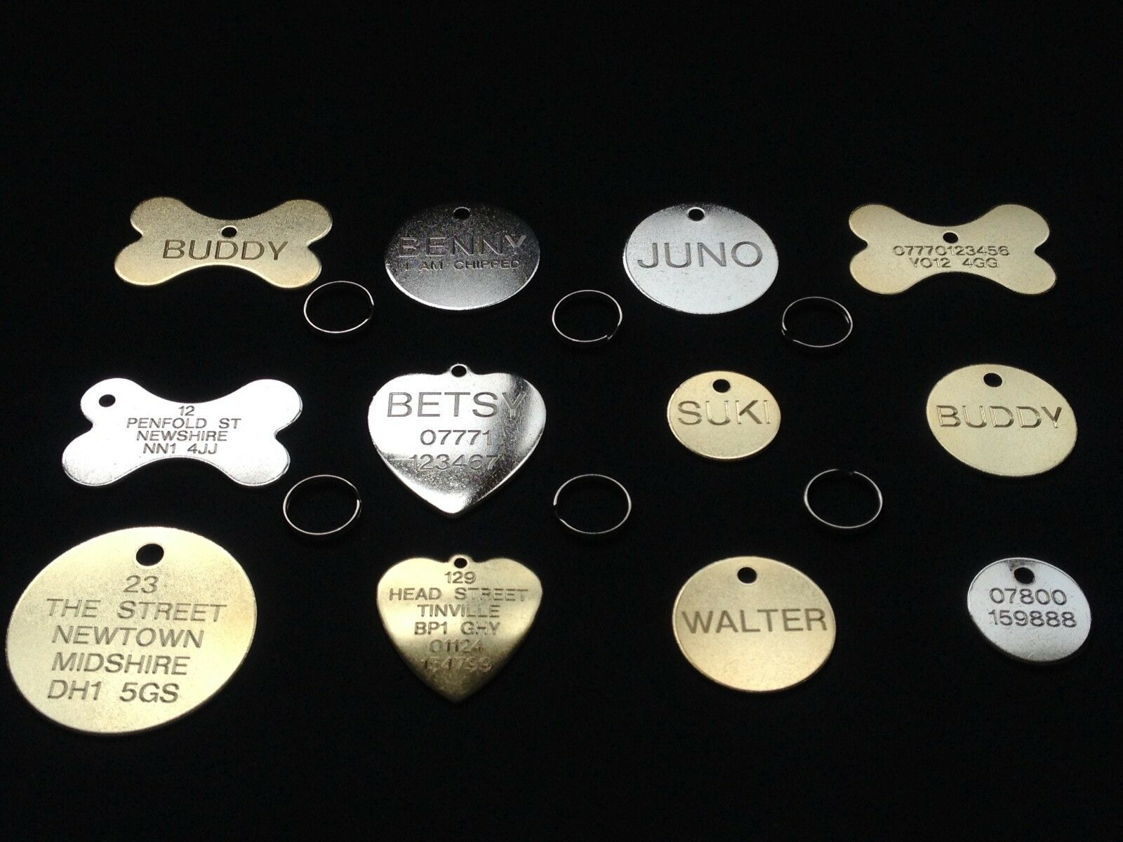 BRASS NAME PET DISC TAGS DOG CAT PERSONALISED PET ID TAG FREE ENGRAVING & RING