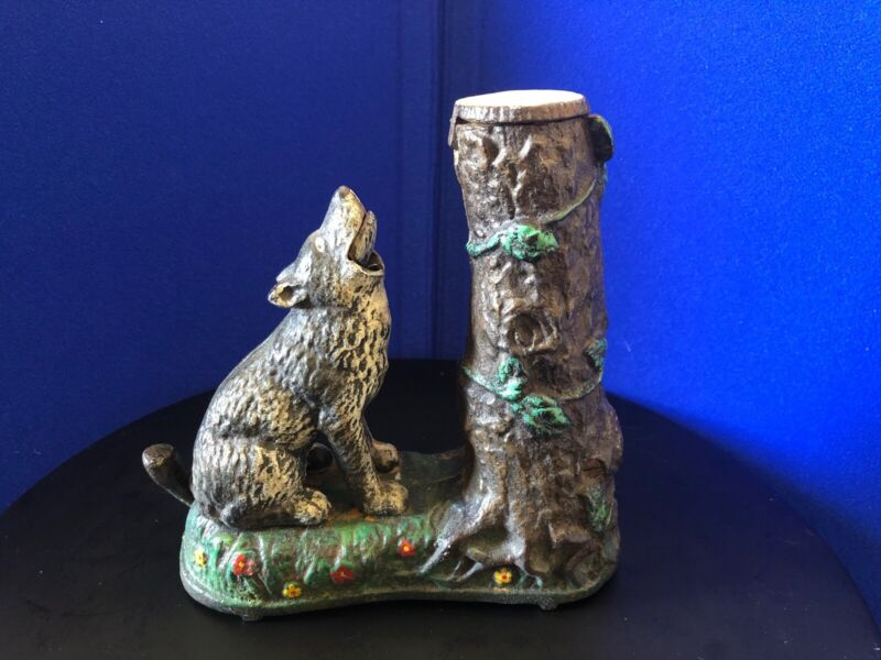 ORIGINAL HUBLEY WOLF & SQUIRREL CAST IRON MECHANICAL BANK, Pat. 7.23.1883