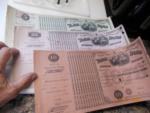 3 US Internal Revenue Special Tax Revenue Stamps 1800