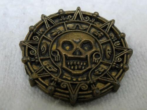 "Disney 1.5"" Metal Gold Toned Coin Pirates of the Caribbean Aztec Skull"