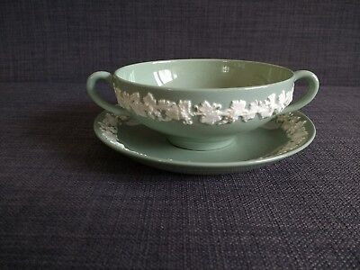 Wedgwood Embossed Queensware Cream on Celadon Cream Soup Bowl and Saucer Plate