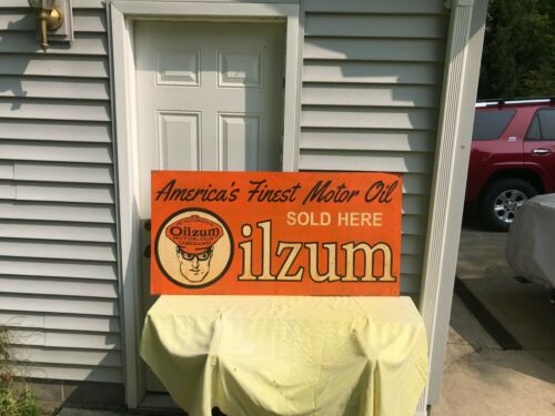 """OILZUM SIGN AMERICAS FINEST OIL RARE  """"SOLD HERE"""" PAINTED METAL SIGN FREE SHIP"""