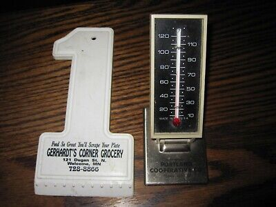 VNTG PORTLAND COOPERATIVE CO Desk Thermometer,GERHARDT'S GROCERY SCRAPER, WEL,MN