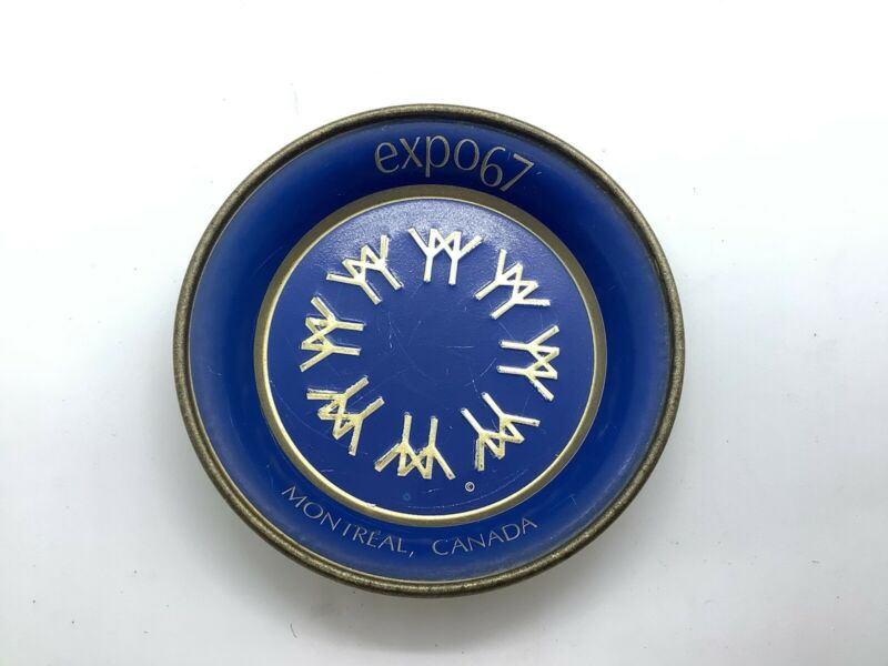 Blue And Gold Expo 67 Montreal World's Fair Stamped Metal Coaster