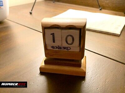 Used, Wooden Block Perpetual Calendar Year Antique Dove Home Decor Desk Office SPANISH for sale  Shipping to South Africa