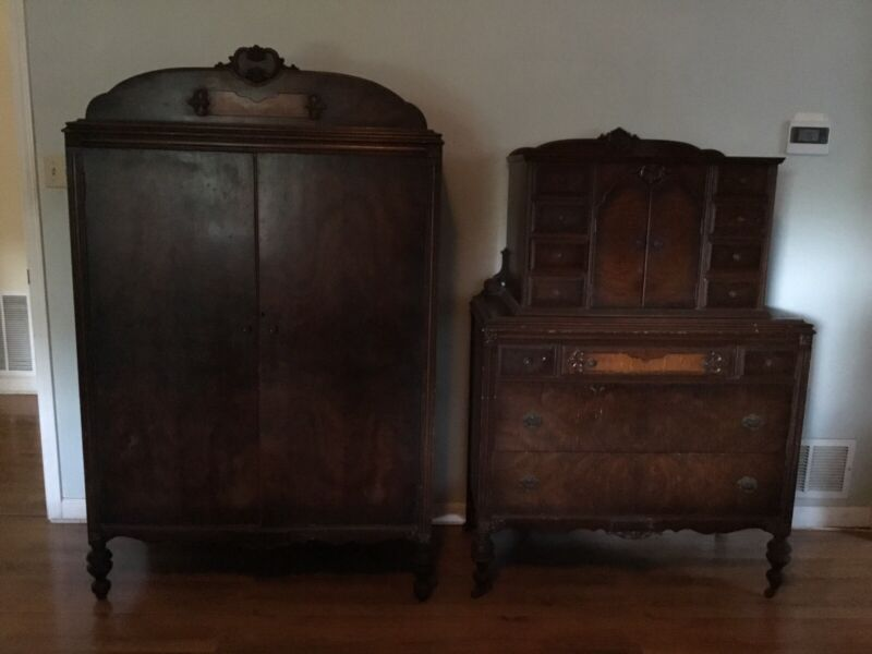 Two Pieces of Antique Lammert Bedroom Furniture Armoire Dresser St Louis 230/723