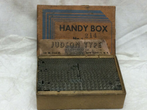 Vintage Printing Press Block Letters Varying Sizes Check Marks Division