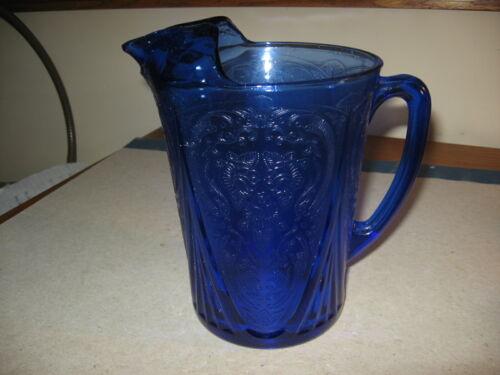 Vintage Depression Glass Pitcher Cobalt Blue Royal Lace Pattern Excellent Shape