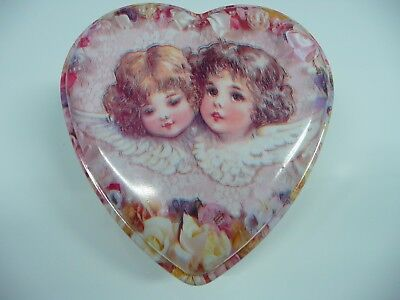 Ullman Co. Heart Shaped Plastic Box Decorated With 2 Cherubs Made in USA