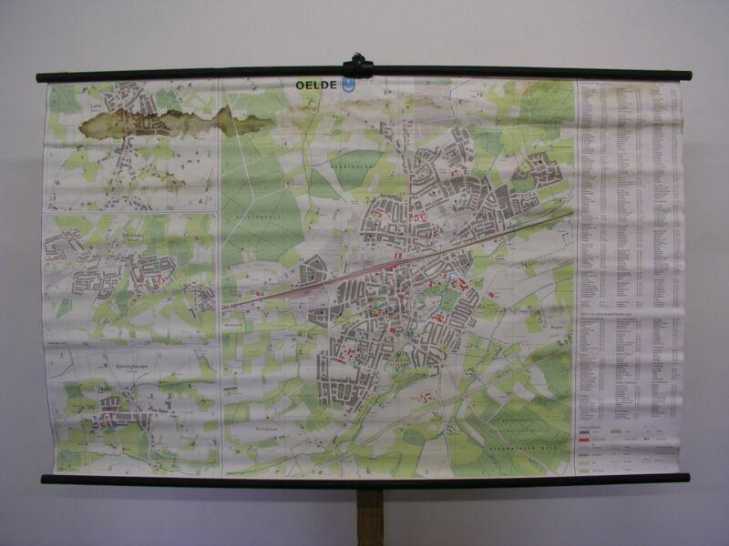 Schulwandkarte Wall Map Card Oelde Warendorf Münsterland City Map 158x99 ~ 1980