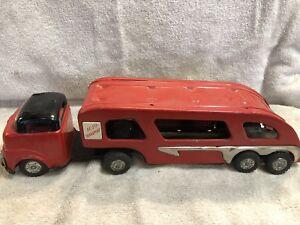 Read antique metal auto transport toy truck