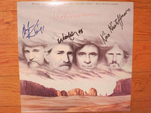Highwaymen signed lp coa Proof! Willie Nelson Waylon Jennings Kris Kristofferson