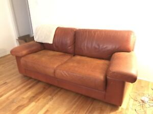 Cool burnt orange leather sofa couch available now