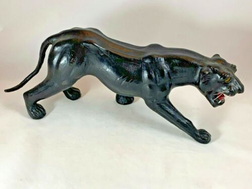 Vintage Leather Wrapped Black Panther - Animal Figure Statue Art Decor Safari