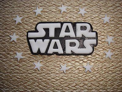 """ star wars "" logo birthday cake topper / decoration + stars in white / yellow"