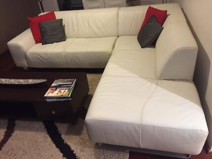 White Leather Lounge Drummoyne Canada Bay Area Preview