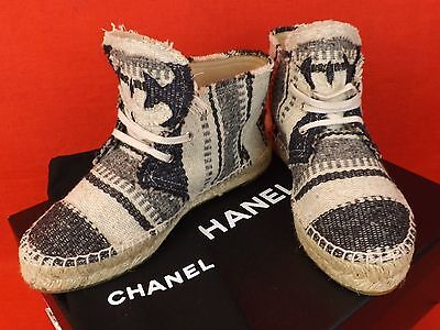 NIB CHANEL STRIPED TOILE TWEED CC LOGO HIGH TOP LACE UP ESPADRILLES SNEAKERS 36