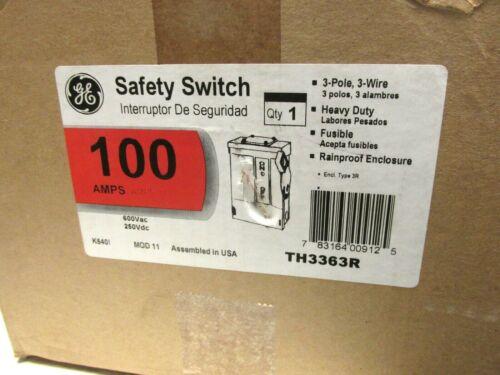 NIB .. GE HD Fusible Safety Switch 100A, 600V 3R Cat# TH3363R .. TC-300