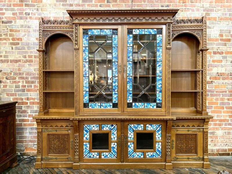 American Renaissance Revival Carved Walnut Breakfront Bookcase, Daniel Pabst