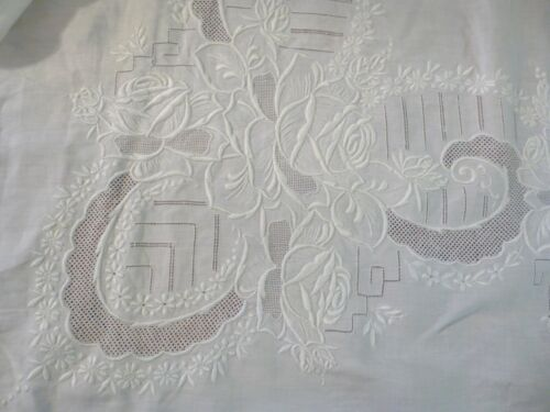 "Beautiful Embroidery Madeira Hand Work Tablecloth 87""x 70"" Linen 6 Napkins"