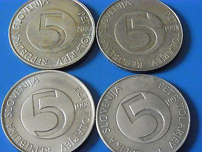4 Münzen 5 Tolarjev Republik Slovenija / Slowenien 1993, -94, -99, 2000