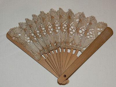 Vintage Handheld Torchon Lace Fan - wooden sticks - Hand Held Fan Sticks