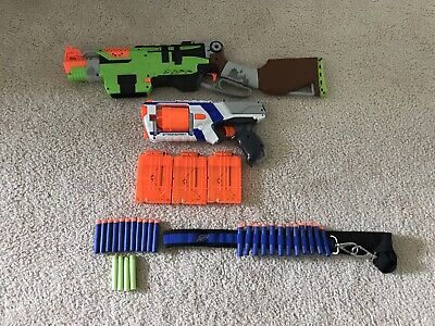 Nerf Zombie Strike Slingfire Blaster + Strongarm + Darts + Belt + Cases!!