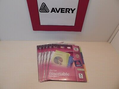 Avery Advantages Big Tab Insertable 5 Tab Plastic Dividers 11900 Lot Of 5