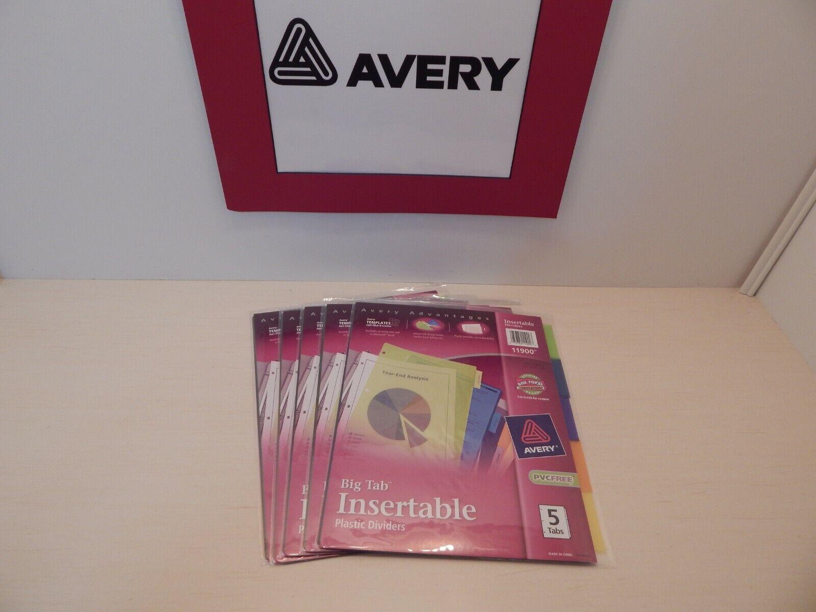 Avery Advantages BIG TAB Insertable 5 Tab Plastic Dividers