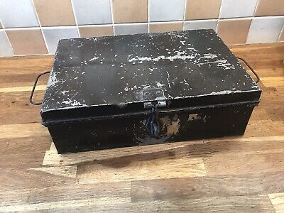"Vintage ""Veteran series"" Metal Lawyer Deed Box Storage Tin Chest , Safe Steel"