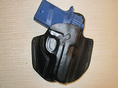 Fits SIG P938 9mm, FORMED LEATHER PANCAKE HOLSTER, OWB BELT HOLSTER, RIGHT HAND, used for sale  Shipping to Canada